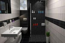 collection Glitter. BLACK IS BACK / Μία πρόταση μπάνιου βασισμένη στα πλακάκια πό την σειρά Glitter με διάσταση 20 x 50 cm. Ο χώρος έχει διάσταση 1,65 x 2.40 m και το ύψος του φτάνει τα 2.40 m.