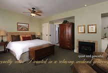 Country Club Suite / The north end of Coronado once featured a country club and sand golf course. These days guests can enjoy the municipal golf course along San Diego Bay, a few blocks from our Coronado Beach California lodging paradise.  With a golf theme, this first floor suite has a king bed, swivel rockers facing the fireplace, a generous spa tub, and sizeable desk should you happen to be traveling on business. Enjoy a view of the courtyard and reflecting pool from your porch. / by 1906 Lodge