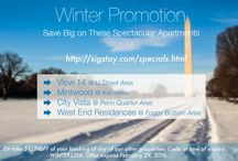 WINTER PROMOTION 2016 / We are offering deep discounts on these Spectacular Apartments  Winter is here and so are our discounts for you to enjoy the most interesting city in the world Washington D.C. Our promotion consists of two different options for our guests.   Book Properties on promotion  ~ VIEW 14 @ U Street Corridor ~ ~ Mintwood @ Kalorama ~ ~ City Vista @ Penn Quarter ~ ~ WestEnd Residence @ WestEnd ~