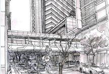 Shenzhen. China. Urban sketch/ Pleinair