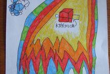 Výtvary Ondřeje, Matyáše a Tadeáše / Výtvarné počiny našich 3 kluků, Ondry (7), Matyáška (5) a Tadeáška (3)