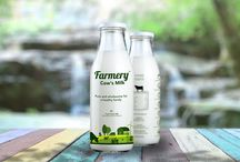 Farmery Milk Bottle / Farmery farm fresh cow milk bottle branding