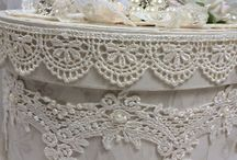 Lace and pearl decorations