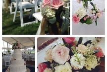A wedding of PINK & WHITE / Some brides come to us with a simple color palette of two colors. These brides wanted color palettes of pink and white . This floral palette included white hydrageas, pink peonies, pale pink and white roses, pink and white stock, Queen Anne's lace, and cream spray roses.