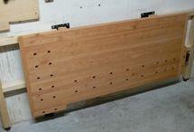 Wall mounted wood bench