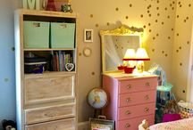 Madeline's Big Girl Room / My vision, finally realized for Madeline's tiny row house bedroom. Tiny rooms with radiators are hard to decorate. Pushing the bed up against the wall works well to keep the floor space open for play. Tall furniture (dresser, desk/shelf) also keeps it feeling less overwhelmed.