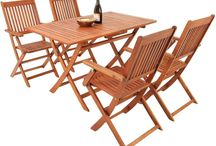 Garden Furniture Set Dining Table 4 Chairs Wooden Sitting Patio Folding Out Door