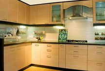 l-shaped kitchen / L-shaped kitchens in chennai - This shape uses two walls of the kitchen for the three points of the work triangle. High quality Modular kitchens at Affordable prices.