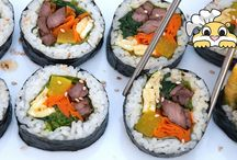 Gimbap Recipe: How to make tasty Korean seaweed roll / Gimbap is a Korean seaweed roll loaded with rice and goodies.  A perfect bite in your mouth~