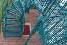 External steel staircase