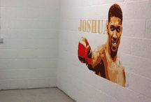 "Anthony Joshua Mural / This Heavyweight mural of the winning Boxer ""Anthony Joshua"" was painted on the wall of what is to become a home Gym. Suprisingly, the young boy who intends to train in this converted garage, shares a name with the champion as ""joshusa""his first name."