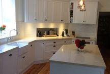 Kitchen benchtops in buttermilk
