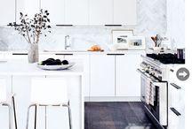 white kitchen dark handles