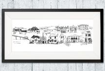 Skylines / We all have our favourite places that create our favourite moments and tell our story; a view, a hill a pub, a beach, even a house. 'Your skyline' tells your story with a beautiful hand-drawn skyline illustration of your meaningful places.