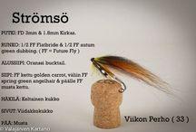 Flies - Perhot / Flies and Fly tying.  Perhoja & Sidontaohjeita.