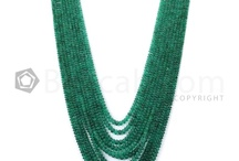 Emerald Beads I Love / Beacab.com offers emerald beads in a wide variety of colors, shapes, sizes, finishes and textures. Single strands with beads as small as 2 mm diameter and large chunky stones each measuring about 12 mm is available here. There is also one of kind pieces like a single bead in a soothing pale green weighing an impressive 337 carats, or a vivid green tumbled drum shaped bead weighing 54 carats. Shapes include carved, tumbled, faceted tumbled, smooth rounds and faceted round beads. / by Beacab Gems