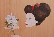"""geisha & maiko""  ""geisha i maiko"" / oil & pencil on beech wood · oli & llapis sobre fusta de faig"
