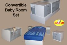 Convertible Baby Room Set / Baby Room Set includes  •Cot with 3 Adjustable Heights for the Mattress (1180 x 800mm mattress) •2 Pedestals with a Cupboard  •3 Drawer Chest of Drawers.   •Full Size Single Bed (1880 x 910 mm mattress)  •Cot becomes a 1200 x 800 mm Play Pen.  Overall sizes H 940 x L 1940 x W 1040mm.  The Furniture set that will grow with your child. It is suitable from the baby stage right through to adulthood. Professionally Manufactured and Designed