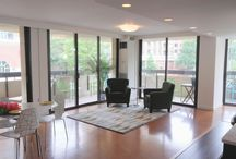 Condo in Old Town Alexandria For Sale - Alexandria House / Spacious loft layout, 1298 sqft, renovated mid-mod style, 26'x20' great room, 2 large bedrooms (16'x11' & 13'x11'), & 525 sqft of wrap-around balcony for true indoor-outdoor living. Great Room with cork floors, kitchen area with granite counters, KitchenAid refrigerator, and gobs of storage. New carpeting in bedrooms, laundry area, en-suite master bath and walk in master closet with a deluxe closet system and hardwood floor and 1 indoor parking space. Walk to Braddock Metro, Old Town Alexandria.