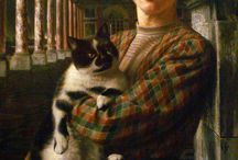 Women and Cats--Community Board / JUNGLE CATS —Claire J. Baker  A sultry woman curls around her cat, her passion purring to purring cat.  Clenching his throb to her breast, she digs fingers deep into fur, enters a jungle tiger eyes burning.  Curled on purple couch, seductive woman seductive cat.