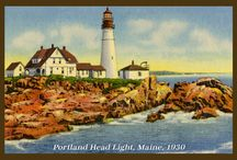 Maine Quilt Blocks / Vintage Maine images of antique postcards printed on cloth for quilters. Quilt Block Sets include a free Wall Hanging Pattern.