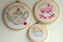 Appliqued cakes and cups