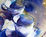 Blue watercolors
