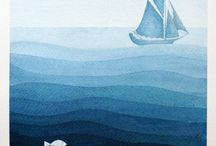 moře, lodě, majáky, ryby