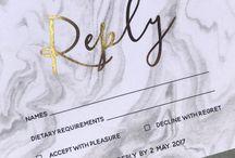 Gold // Rose Gold wedding invitations