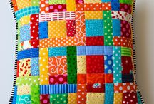 log-cabin patchwork cushion