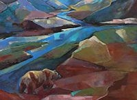 "Artist Eva Thiemann / Artist Eva Thiemann, who holds degrees from the Academie of Art and University of Riga, Latvia in Biology, is best known for her oil paintings of Alaskan bears set in abstract landscapes. ""When I came to Alaska from Latvia in 1997 I was overwhelmed by its beauty; I was able to observe Alaska's magnificent brown bears, and painting them with Alaskan scenery became my passion. I started painting Great Grey Owls after observing these rare birds around Hayat Lake."""
