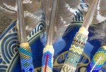 beaded feathers