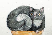 quirky cat doodle