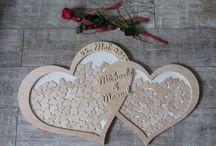 Romantisches Doppelherz aus Naturholz