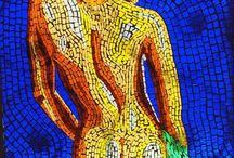 MOZAİK ÇALIŞMALAR / Mozaik sanatı, resim alanlarından biri olarak, küçük üç boyutlu ve birbirine benzemeyen parçaların bir araya getirilip resim oluşturacak şekilde dizilmesine denir