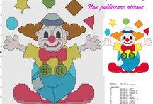 Pagliacci Clown schemi punto croce da scaricare gratuitamente / Pagliacci Clown schemi punto croce da scaricare gratuitamente, bambini