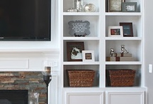 Built in fireplace bookcases