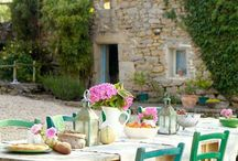 En Provence ~ South of France Style / Textiles (quilts, block printed, monogramed, torchon), pottery (planters, vessels, confit pots), food (olives and bread, cheese), gardens and terraces, orchards, beautiful homes (kitchens, bedrooms). Lavender, bien sur.