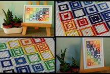 Kolorowe kwadraciki - haft krzyżykowy