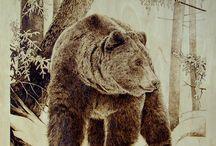 Woodburning pandas, koalas, bears