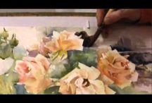 Painting roses / I love painting flowers, especially roses  and have been working on a series of watercolour demonstrations about this subject. I love being able to suggest rather than paint botanically.