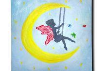 For children / Handmade paintings on canvas for children room