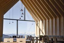 A wooden concrete hotel design