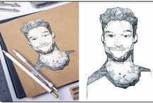 Geometric portraits / https://www.facebook.com/alexandraguritaportraits/