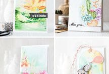 Craft Technique - Watercolor / Watercolored cards, packaging, tags, wrapping and gifts