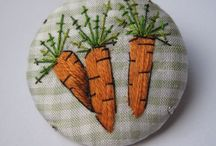 Embroidered carrot brooch
