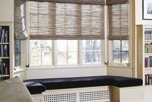 Window treatment / Bay window, window treatment, curtains, blinds, shutters, curtains