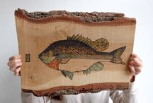 Fish painted on wood.