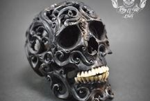 Realistic Human Hand Carved Filigree Skull With Teeth From Buffalo Bone #THB2 / Find this skull on Etsy