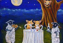 Pembroke Welsh Corgi FuN Paintings! / My whimsical artwork of this lovable, intelligent herding breed!